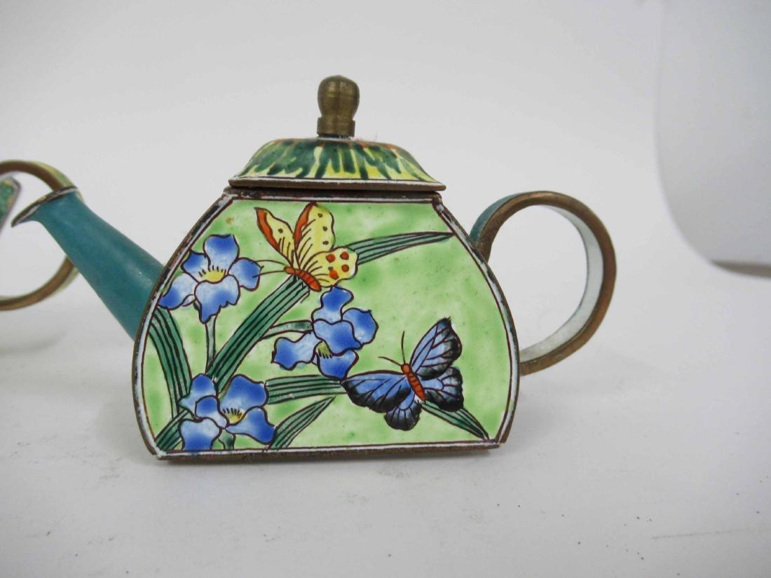 Three Kelvin Chen Enameled Tea Pots - 4