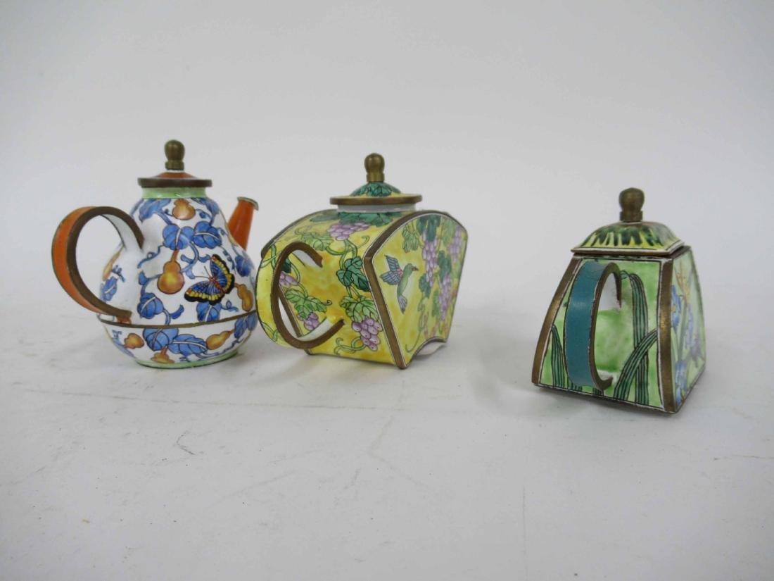 Three Kelvin Chen Enameled Tea Pots - 5