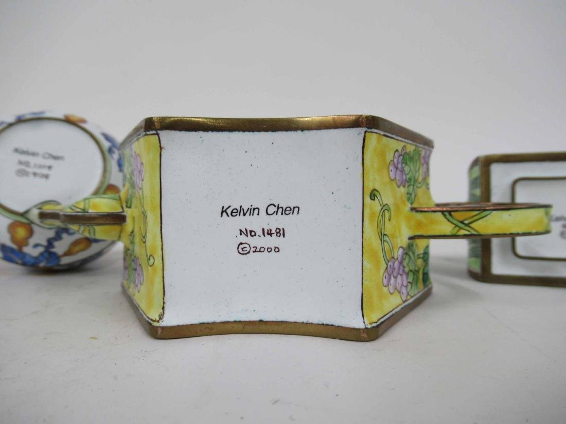 Three Kelvin Chen Enameled Tea Pots - 7