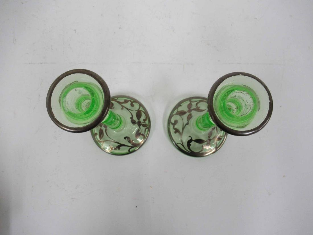 Pair Green Depression Glass Candlesticks - 4