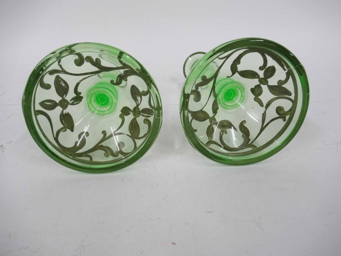 Pair Green Depression Glass Candlesticks - 5