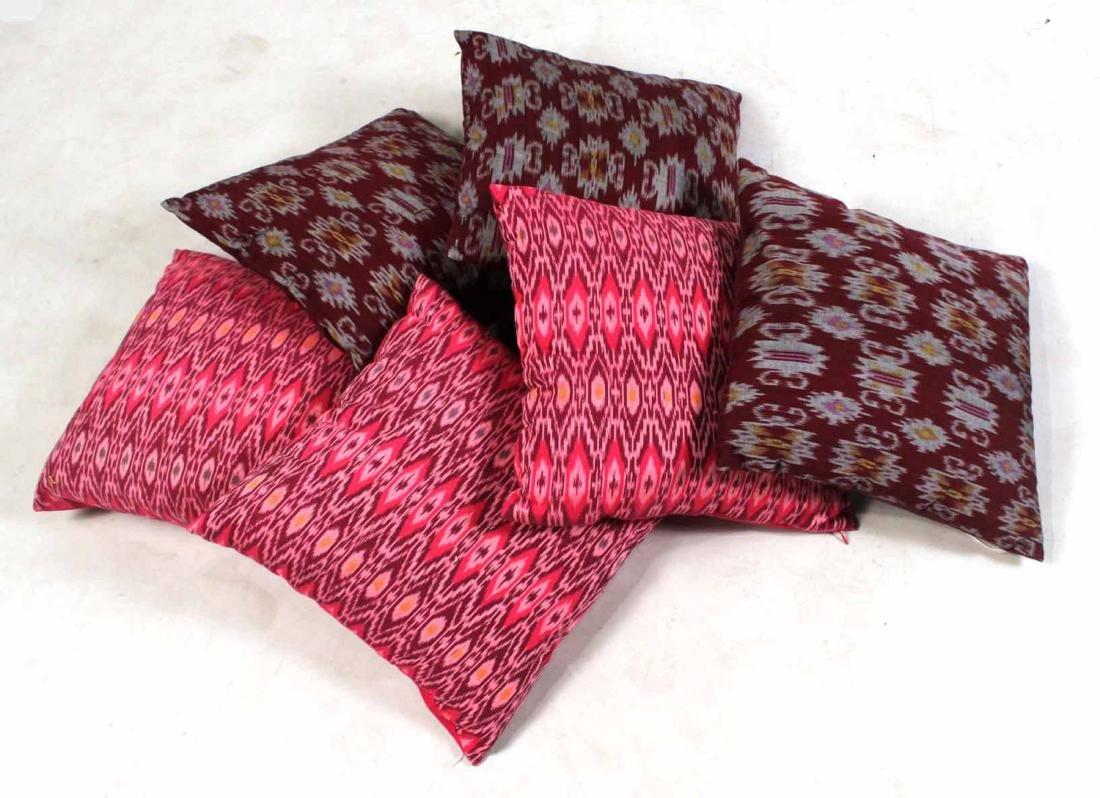 Six Small Fuschia and Purple Pillows