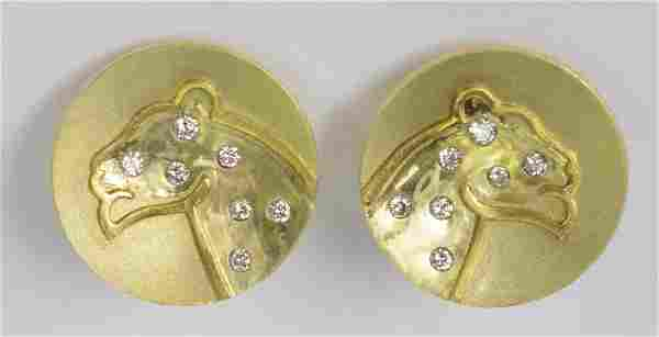 Pair 18K Yellow Gold & Diamond Panther