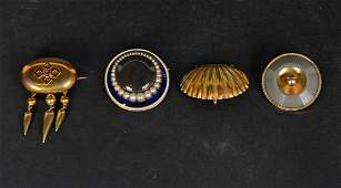 Four Victorian Yellow Gold Brooches