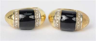 Pair 18K Yellow Gold Onyx Diamond Earrings