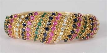 18K Gold Diamond Blue & Pink Sapphire Emerald