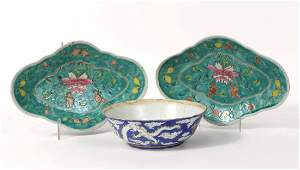 Pair of Green Glazed Porcelain Footed Dishes