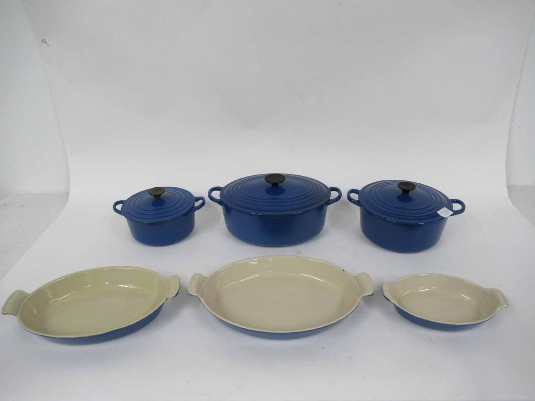 Blue Le Creuset Six Piece Cookware Set