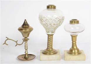 Two Brass and Glass Fluid Lamps