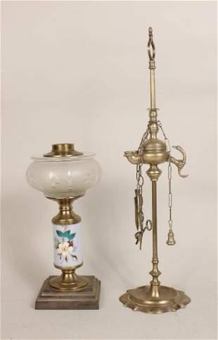Brass Etched Glass Porcelain Fluid Lamp