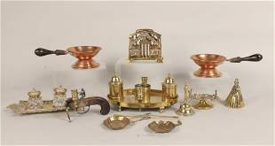 Group of Brass Desk Garnitures