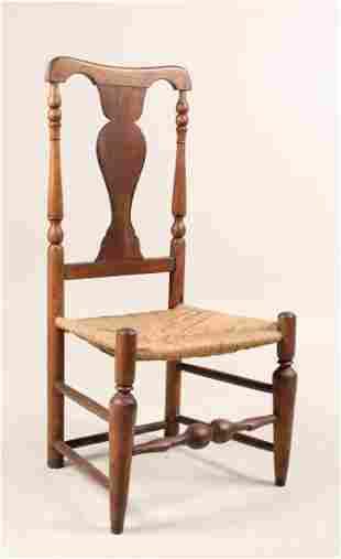 Queen Anne Walnut Rush Seat Side Chair