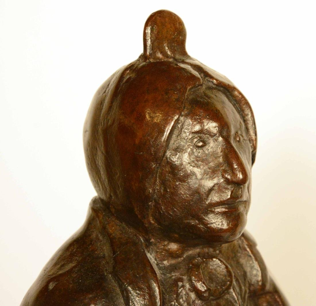 Bronze Statue, Indian Chief, Leonard Baskin - 3