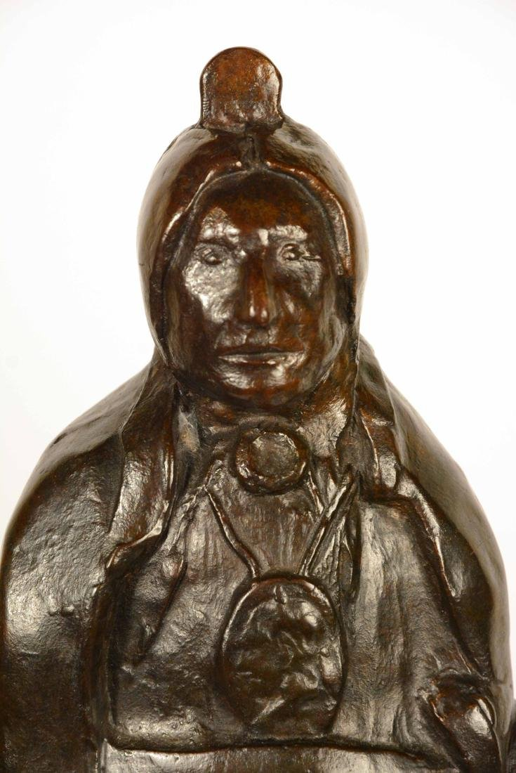 Bronze Statue, Indian Chief, Leonard Baskin - 6