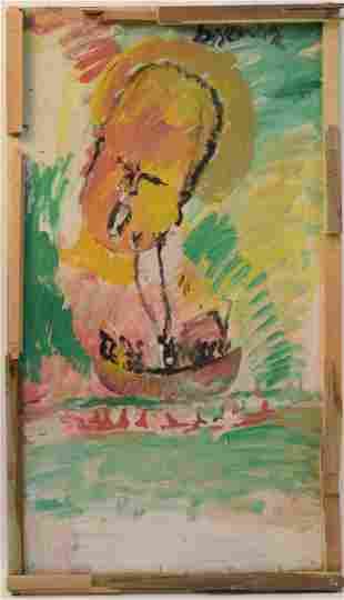 Oil on Masonite, Purvis Young, Singing Boat Chil