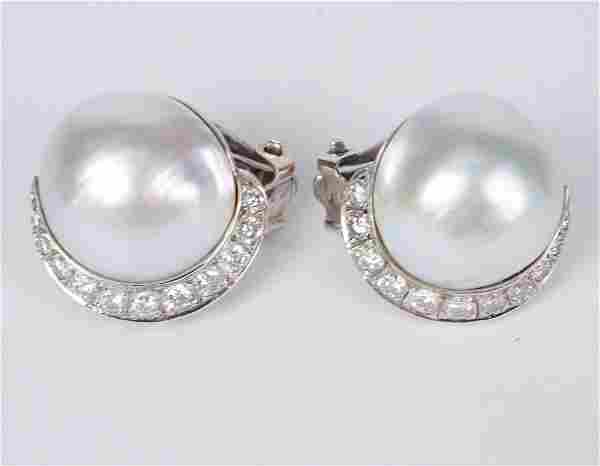 Pair of 14K Gold Mabe Pearl Diamond Ear Clips