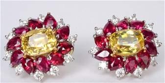 Pair Gold Yellow Sapphire, Ruby & Diamond Earrin