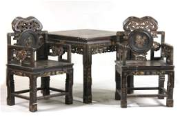 Three Piece Set of Chinese Lacquer Furniture