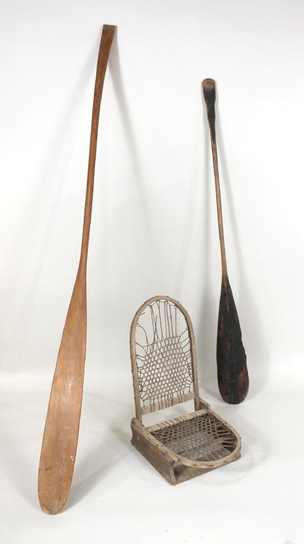 Canoe Seat and Two Oars