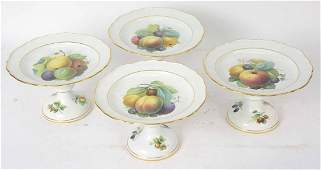 Four German Porcelain Footed Fruit Compotes