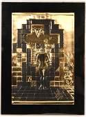 """Gold Bas Relief, """"Lincoln in Dalivision""""Salvador Dali"""