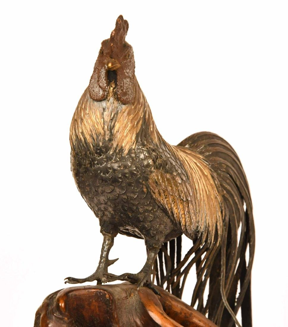 Japanese Meiji Period Silver Gilt Cockerel - 4