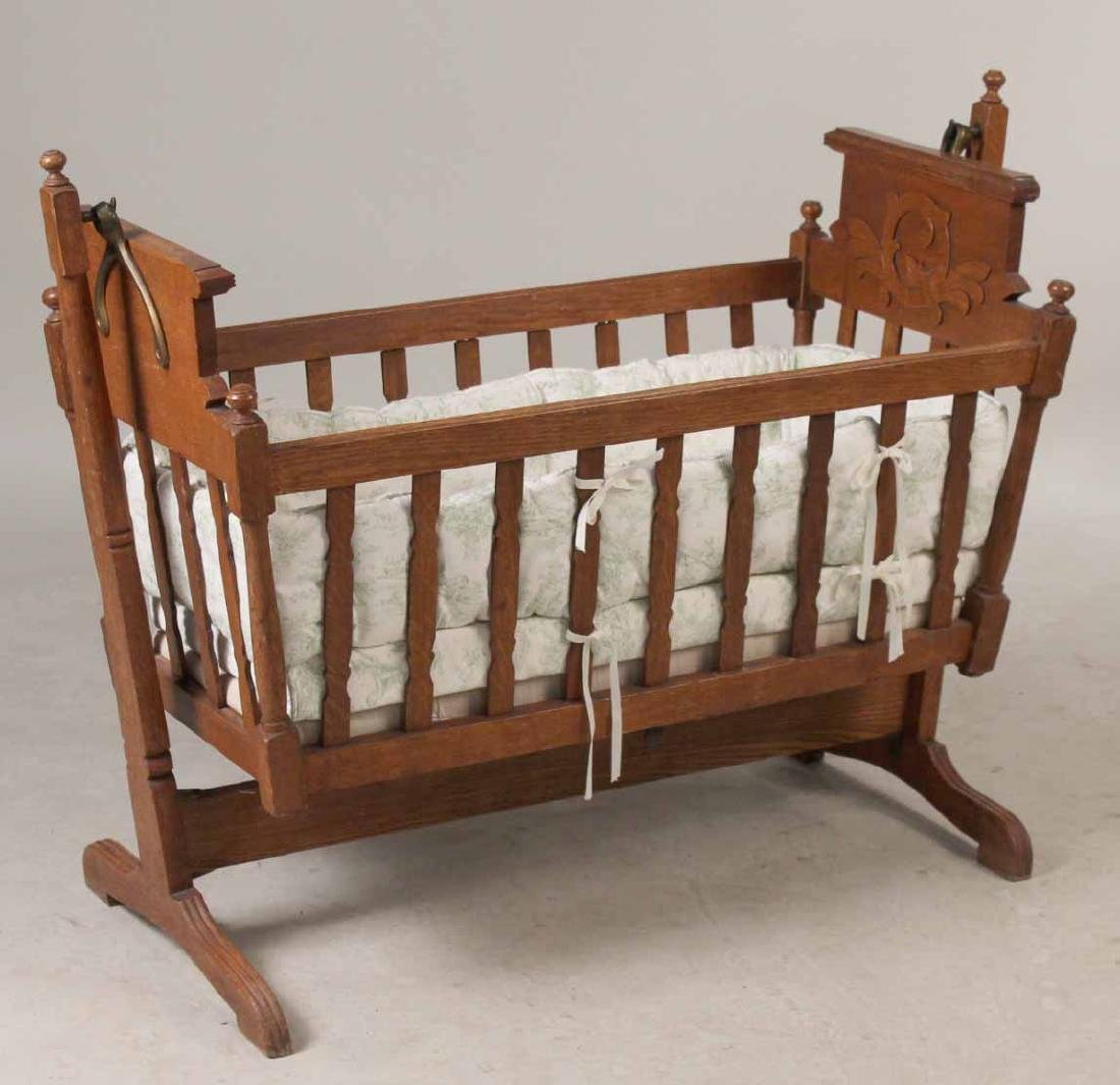 Victorian Oak Cradle on Stand