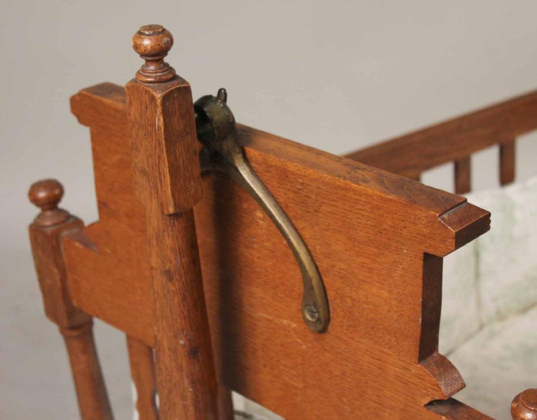 Victorian Oak Cradle on Stand - 3
