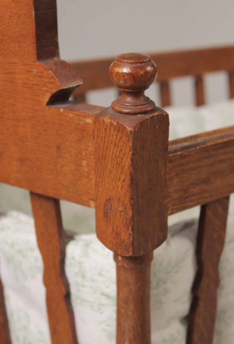 Victorian Oak Cradle on Stand - 4