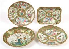 Four Chinese Rose Medallion Porcelain Plates