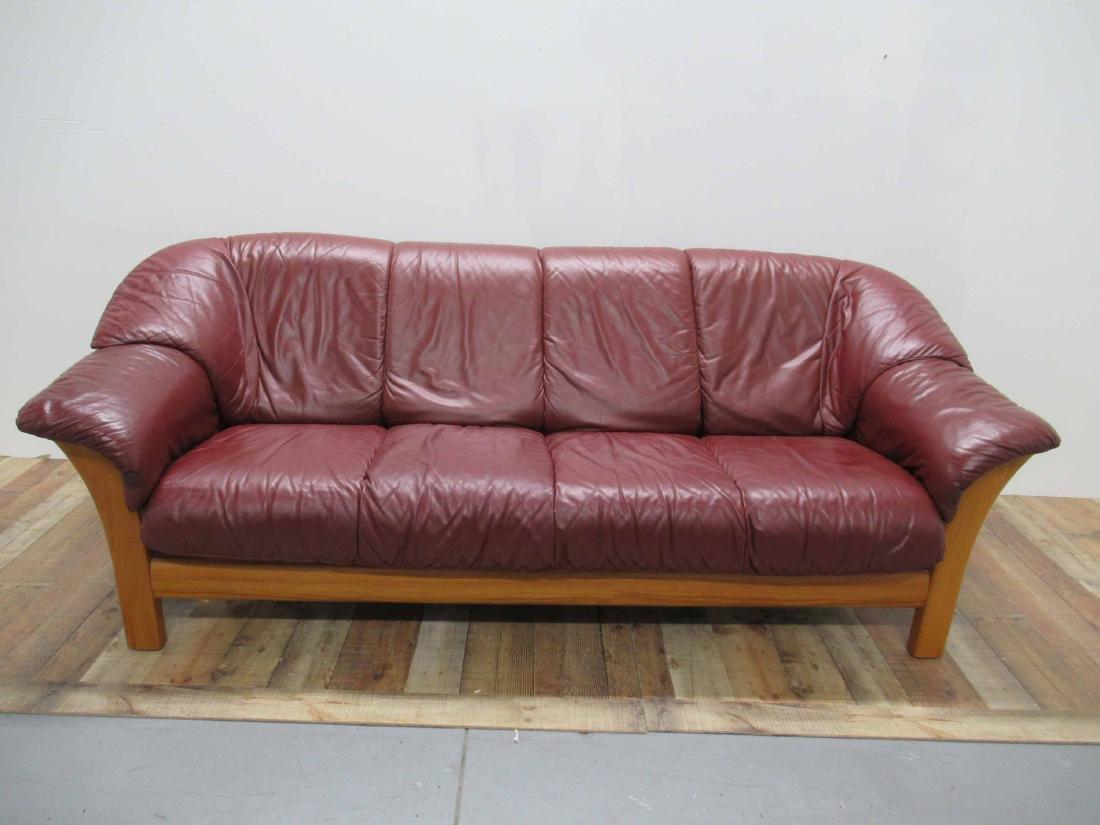 Danish Modern Red Leather Sofa