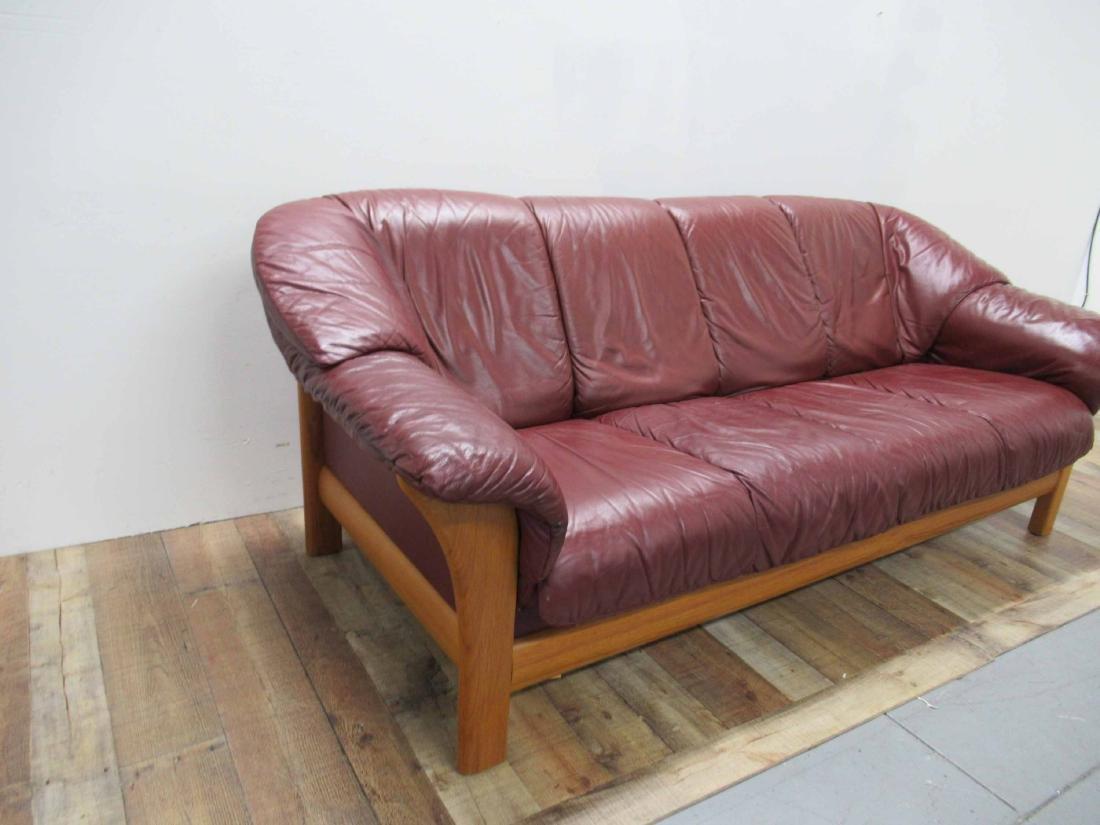Danish Modern Red Leather Sofa - 2