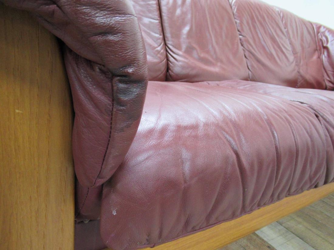 Danish Modern Red Leather Sofa - 3