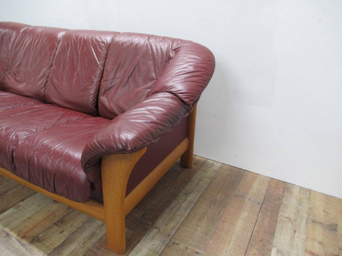 Danish Modern Red Leather Sofa - 4