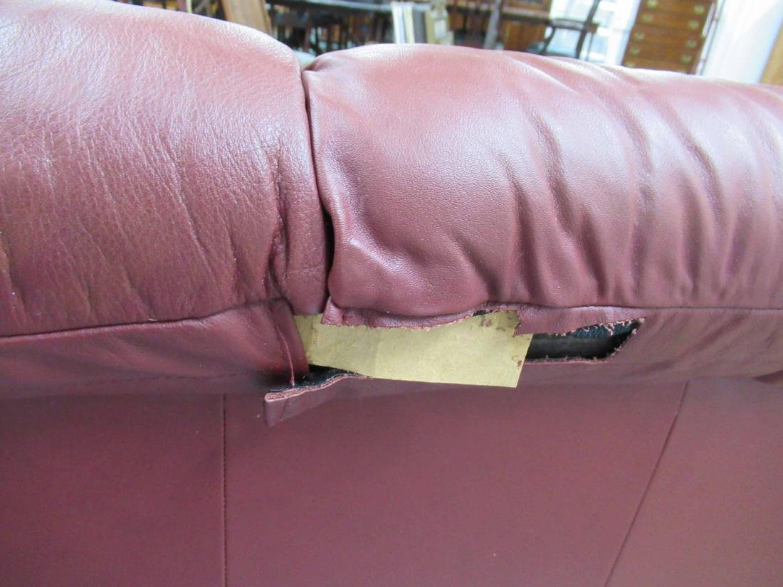 Danish Modern Red Leather Sofa - 6