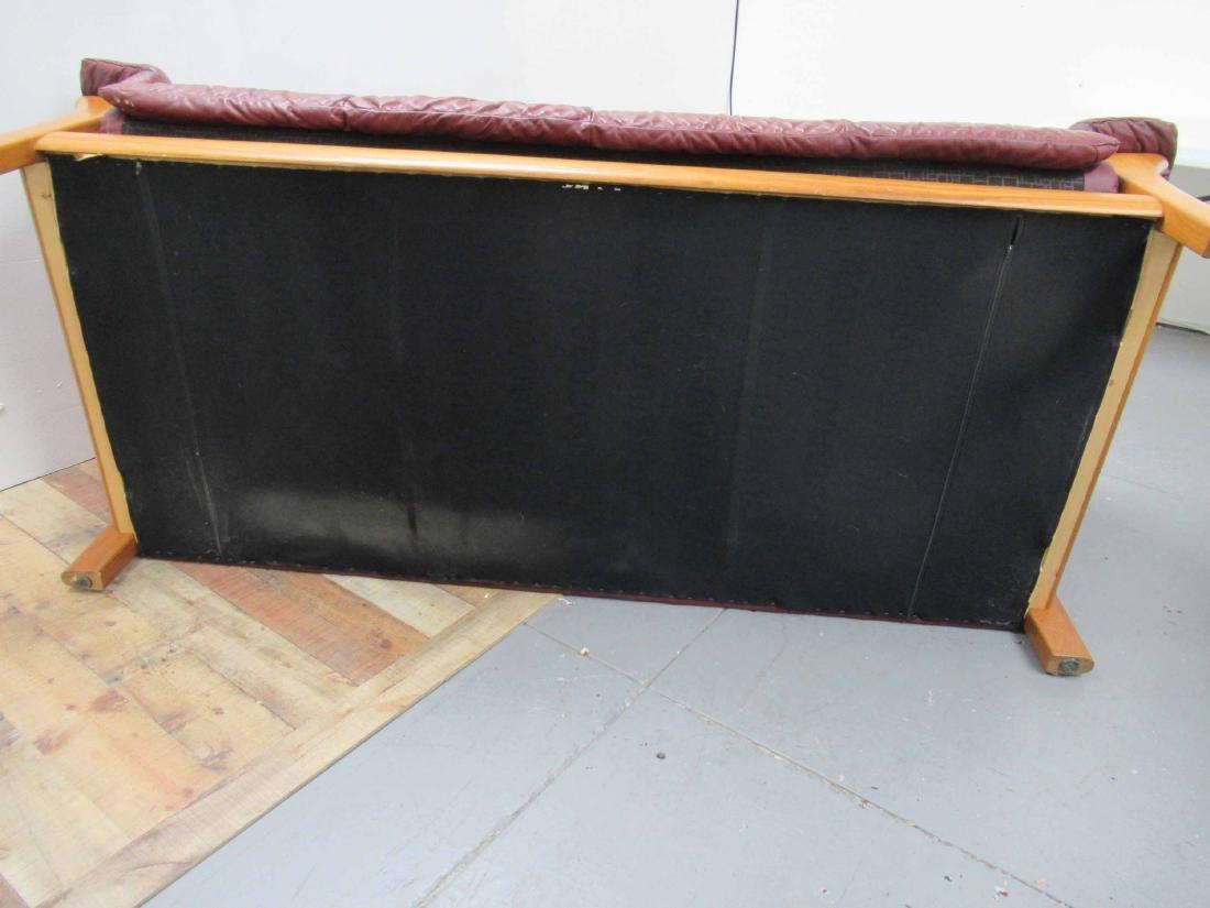 Danish Modern Red Leather Sofa - 7
