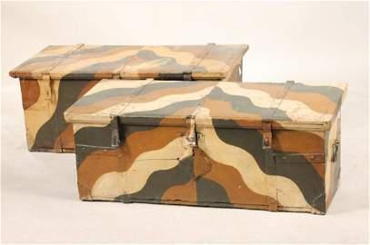Pair of Painted Wood Slant-Top Blanket Chests