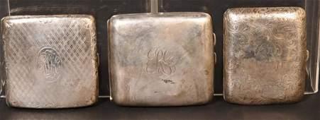 Three Sterling Silver Cigarette Cases