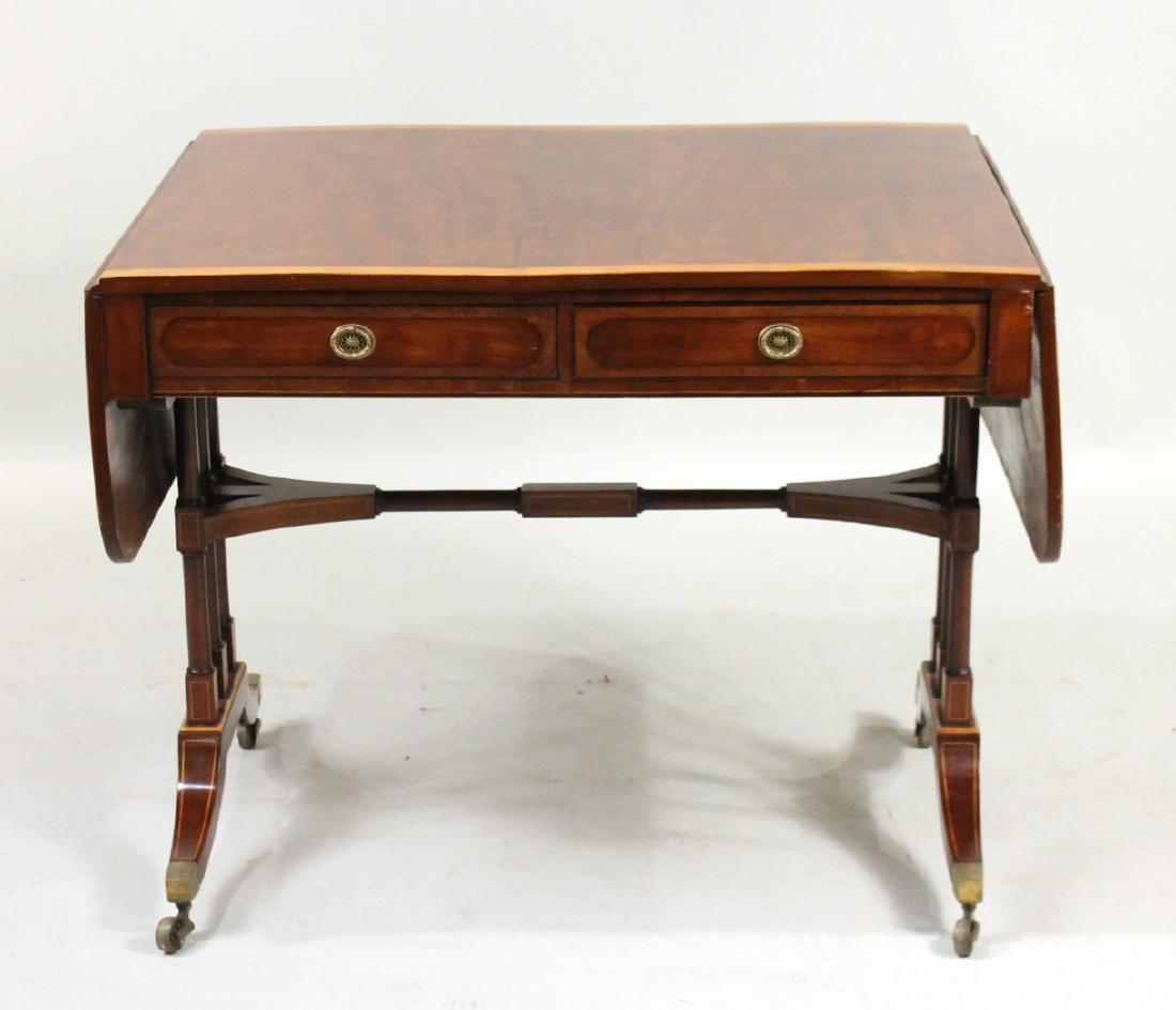 Regency Satinwood Inlaid Mahogany Sofa Table