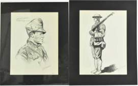Six WWI Prints Portraits of Soldiers Lucien Jonas