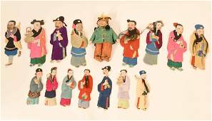 Chinese Quilted Silk and Paper Ancestor Dolls