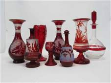Group of Assorted Ruby Color Glass Table Articles