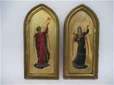 Two 19th C. Gilt Wood Religious Oil on Panels