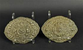 Two Similar Chinese Silver Buckles