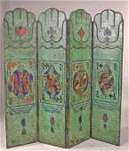 Whimsical Painted Leather FourPanel Screen