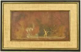 Oil on Board, Nude in Landscape, Louis Eilshemius