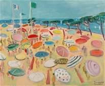 Oil on Canvas Beach Scene Robert Savary