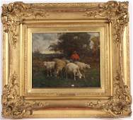 Oil on Canvas Landscape with Sheep Charles Phelan