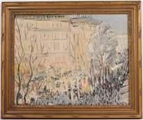 Oil on Canvas Paris Street Scene Werner Philipp