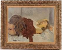 Oil on Canvas, Reclining Woman, Raphael Soyer